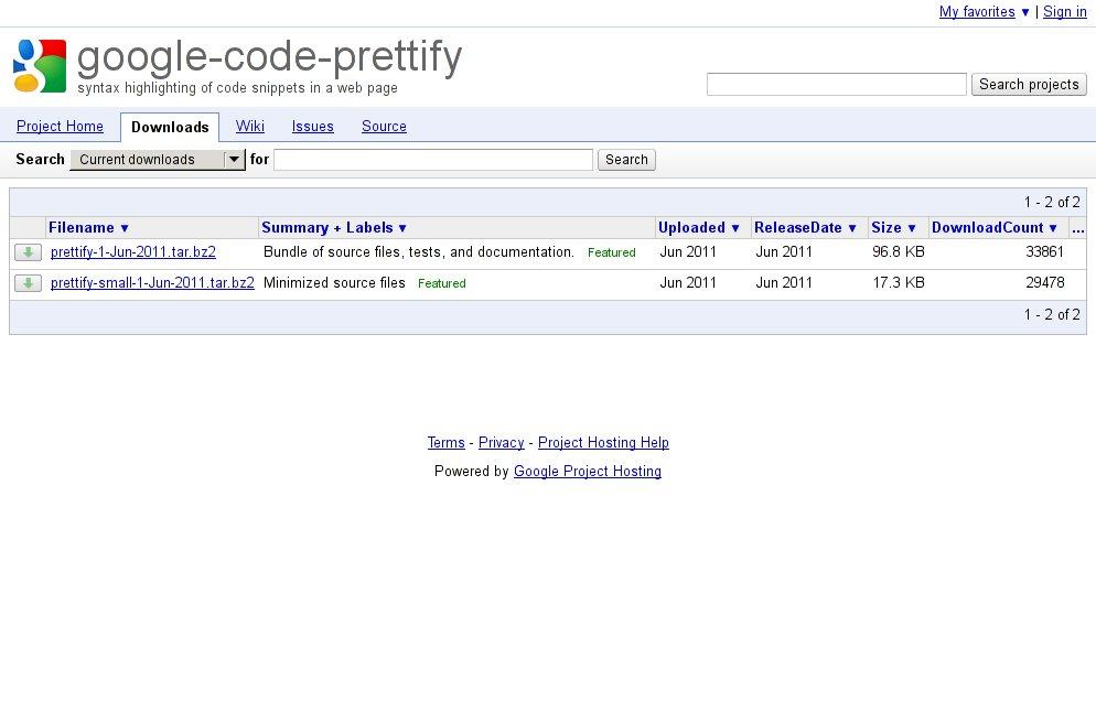 http://code.google.com/p/google-code-prettify/downloads/list